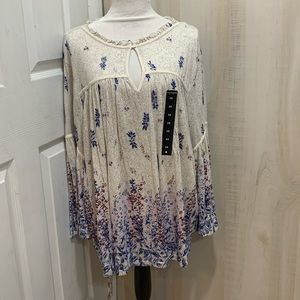 Lucky Brand Bell Sleeve Empire Peasant Top 3X